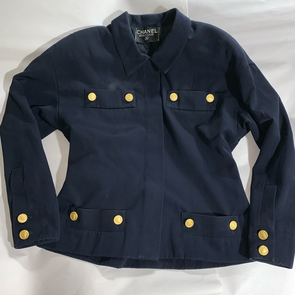CHANEL Jackets & Blazers - VINTAGE authentic CHANEL navy wool JACKET size LRG